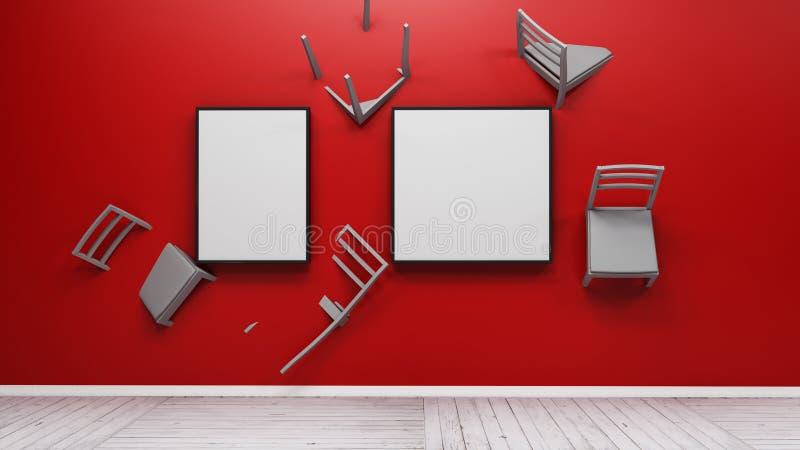 La chaise incorporée dans le mur 3d rendent illustration libre de droits