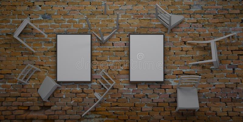 La chaise incorporée dans le mur 3d rendent illustration de vecteur