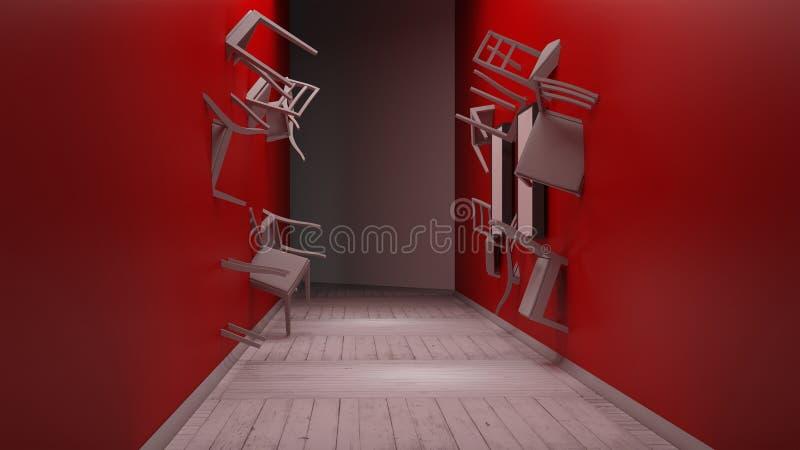 La chaise incorporée dans le mur 3d rendent illustration stock