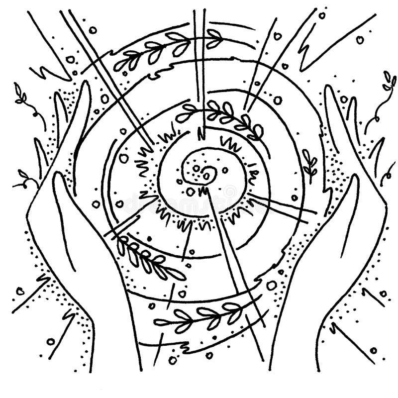 La chaleur des mains assidues Nature, le soleil, cercle illustration libre de droits