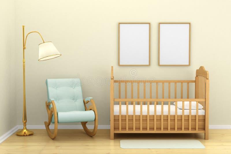 La chambre à coucher des enfants avec une huche, illustration libre de droits