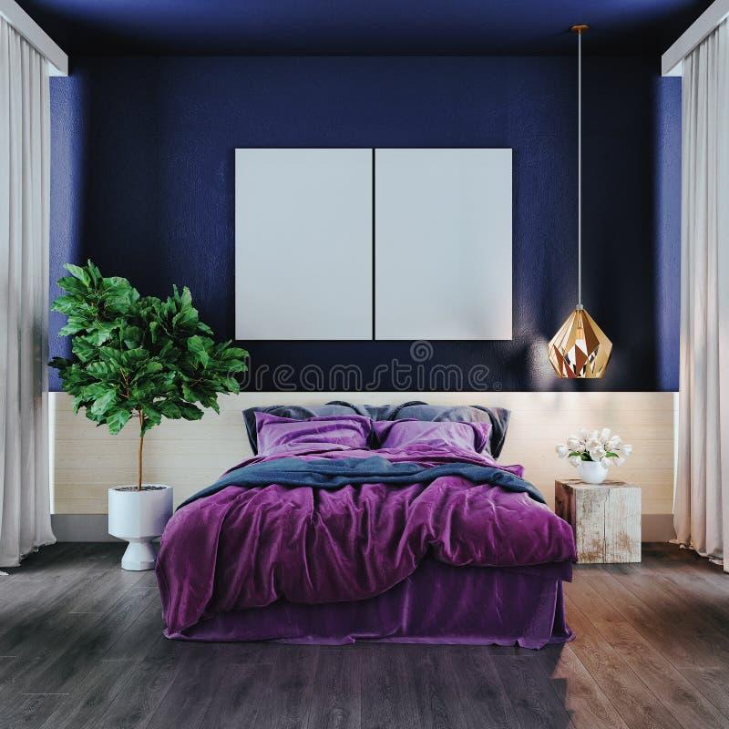La chambre à coucher moderne dans le ton violet, 3d rendent photographie stock libre de droits