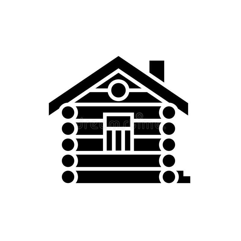 La Chambre - carlingue - icône de maison en bois, illustration de vecteur, noir se connectent le fond d'isolement illustration libre de droits