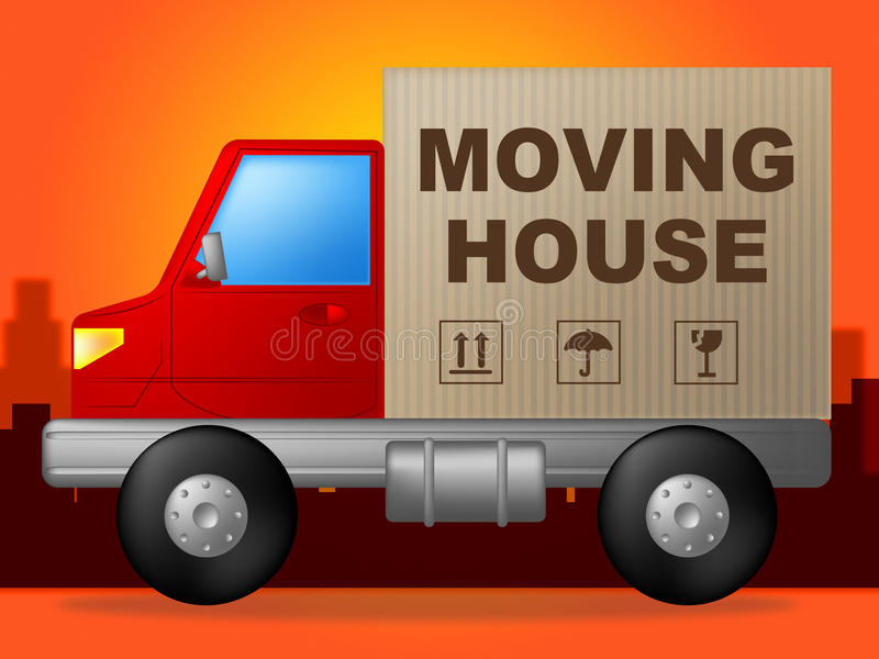 La Chambre mobile indique la nouveaux maison et fret d'achat illustration stock