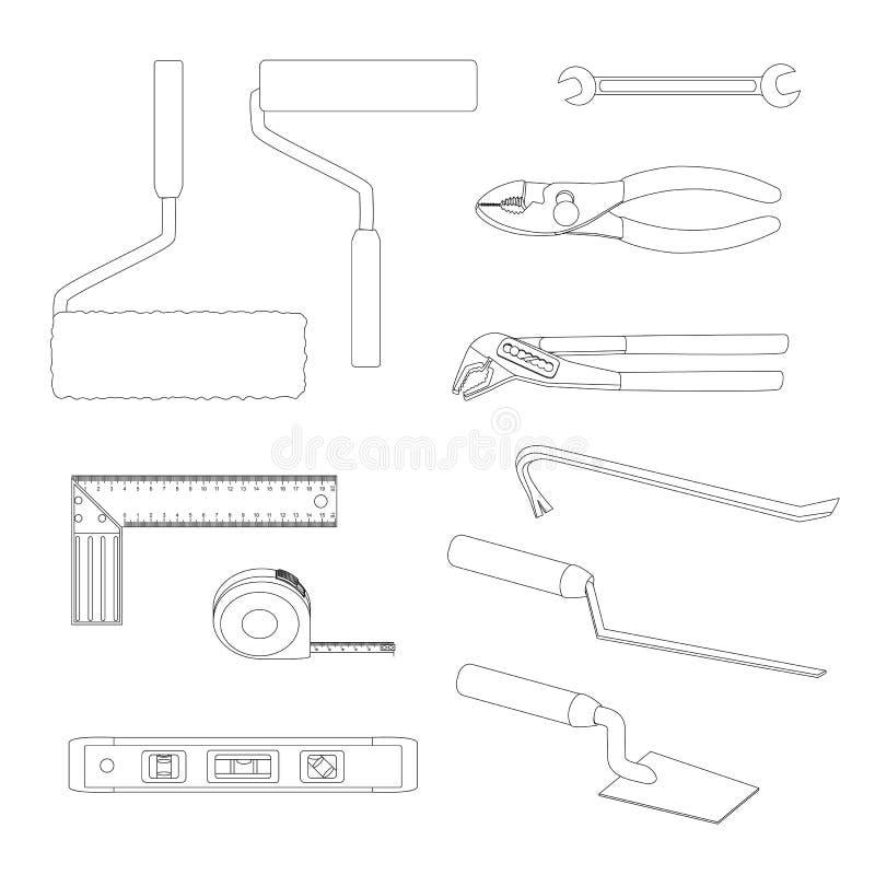 La Chambre répare des outils Pied-de-biche, pinces communes de cannelure, remplisseur commun, clé ouverte, rouleau de peinture, é illustration stock