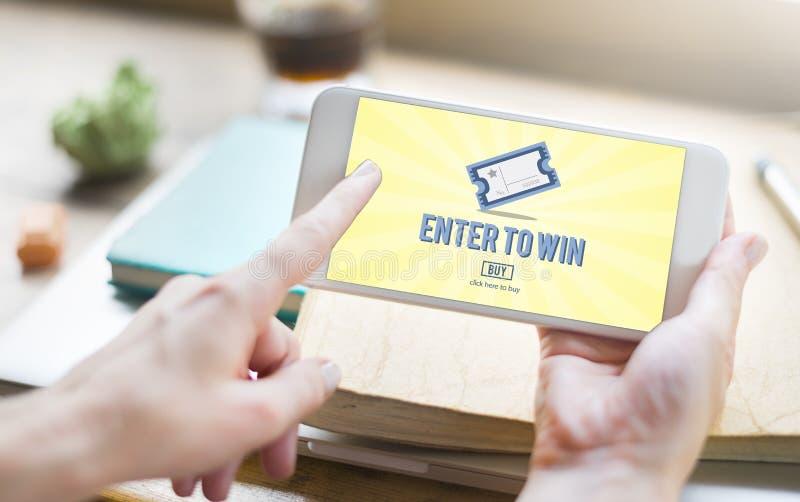 La chance de jeu de gros lot entrent pour gagner le concept de billet de loto photographie stock libre de droits