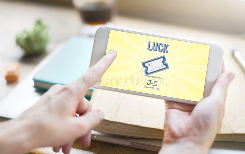 La chance de jeu de gros lot entrent pour gagner le concept de billet de loto images libres de droits