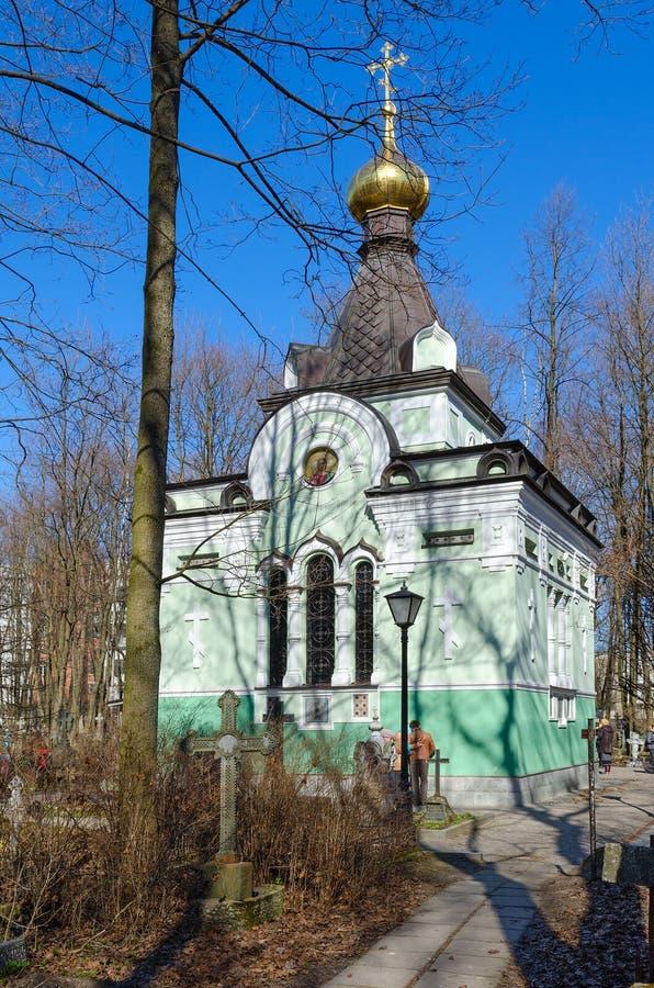 La chapelle dans le nom du saint a béni Xenia de Pétersbourg au cimetière de Smolensk, St Petersburg, Russie image stock