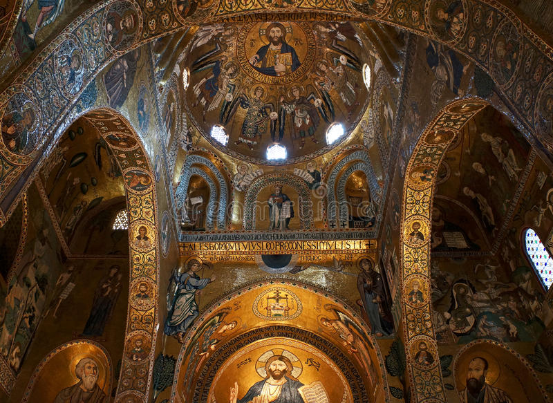 La chapelle de Palatine de Palerme en Sicile photographie stock libre de droits