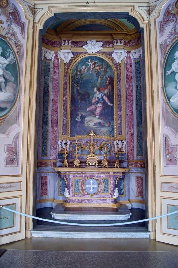 La chapelle du roi de Stupinigi de palais royal de l'Italie Turin de St Hubert photo libre de droits
