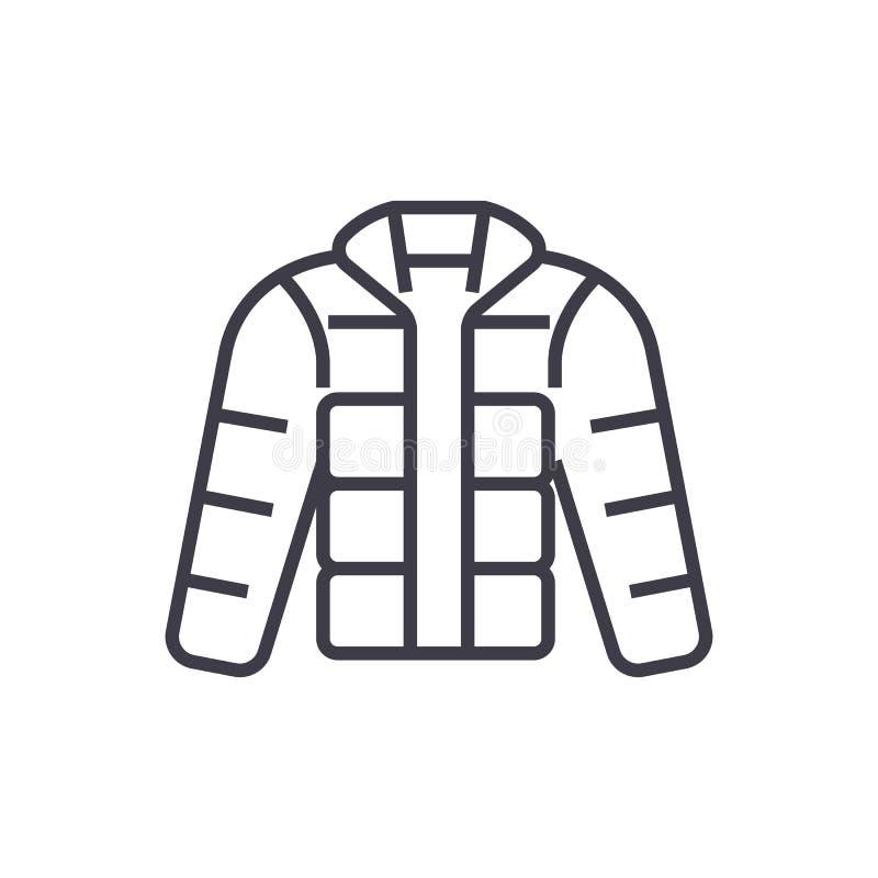 La chaqueta del invierno, downjacket, ropa al aire libre vector la línea icono, muestra, ejemplo en el fondo, movimientos editabl stock de ilustración