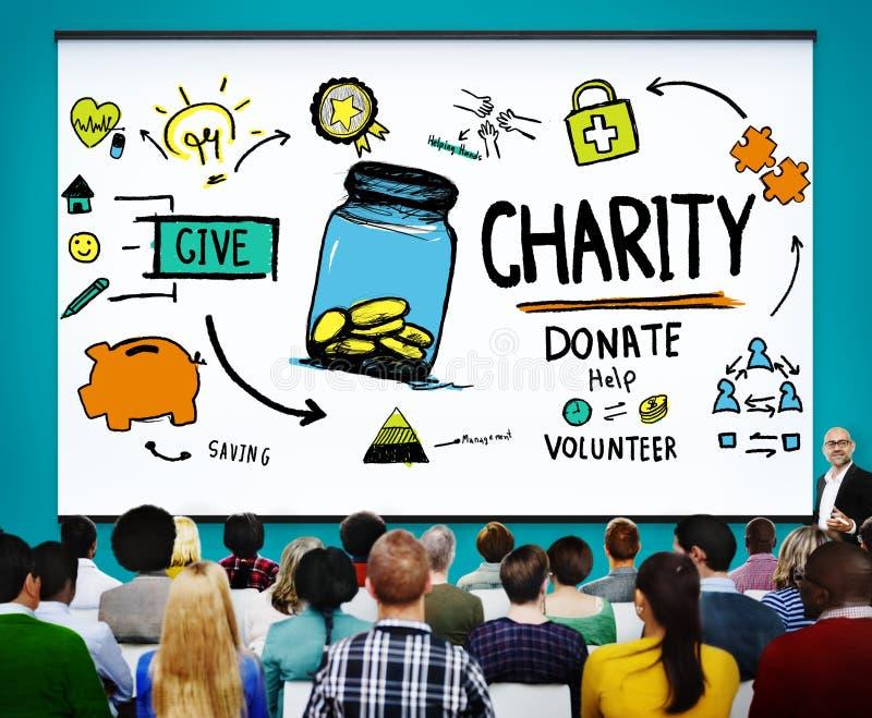 La charité donnent l'aide donnent l'économie partageant l'appui Concep volontaire photo libre de droits