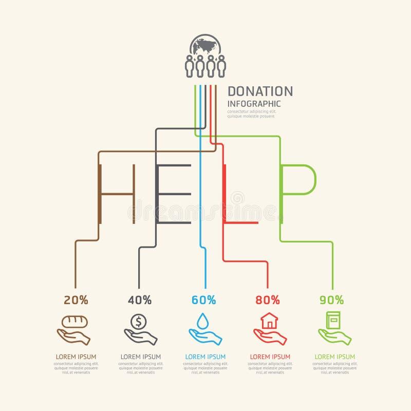 La charité et la donation linéaires plates d'Infographic décrivent le concept illustration de vecteur