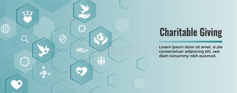 La charité et le soulagement fonctionnent - la bannière donnante charitable de Web avec l'icône illustration libre de droits