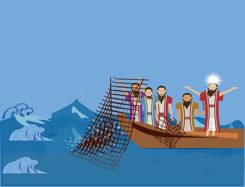 La charla de Jesús a algo de su followersJesus que predica a los pescadores y que les pregunta ser lo sigue ilustración del vector