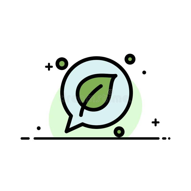 La charla, verde, hoja, línea plana del negocio de la reserva llenó la plantilla de la bandera del vector del icono ilustración del vector