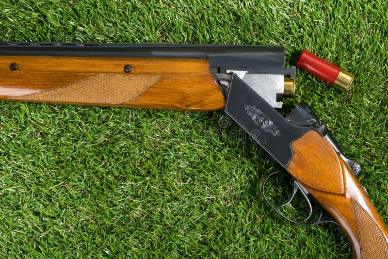 La chasse du fusil avec une cartouche rouge se trouve sur l'herbe image libre de droits