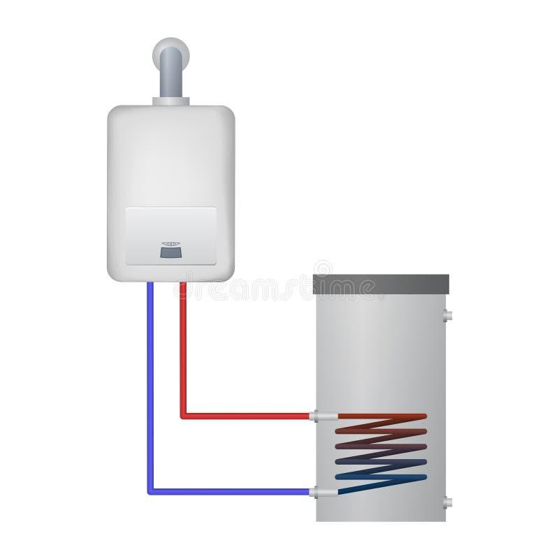 La chaudière de condensation chauffe l'eau pour le réservoir illustration stock