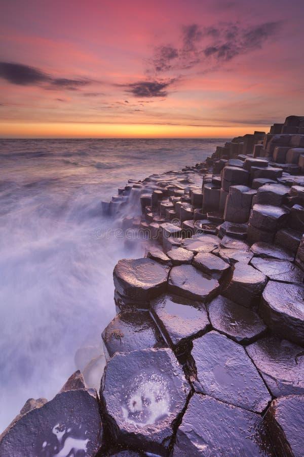 La chaussée du géant en Irlande du Nord au coucher du soleil photo stock