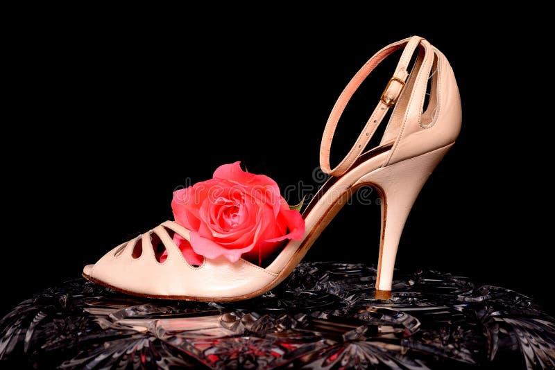 La chaussure de la femme et s'est levée photos stock