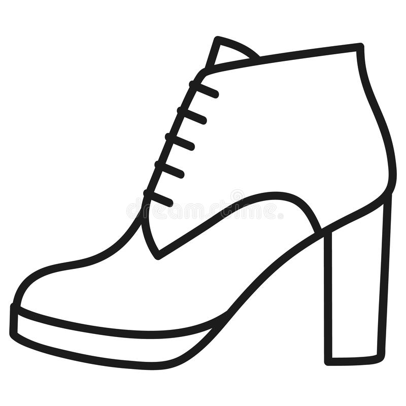 La chaussure des femmes a décrit l'icône à l'arrière-plan blanc image stock