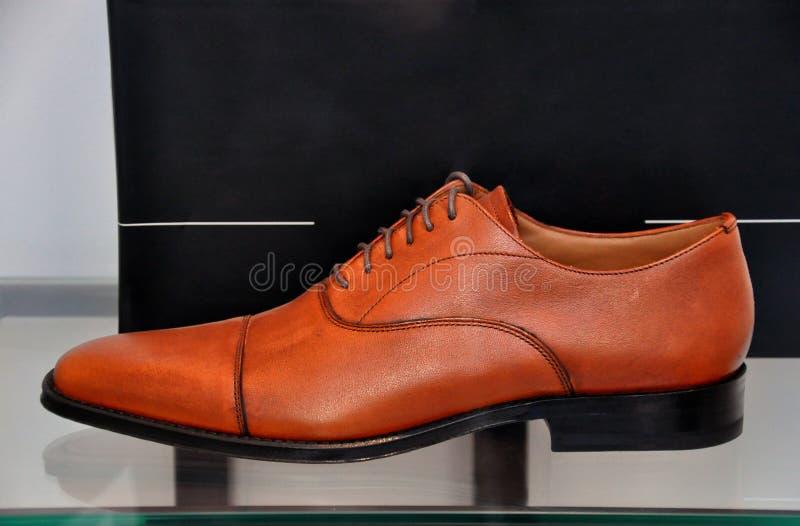 La chaussure en cuir des hommes de Brown image stock