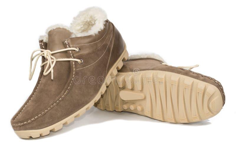 La chaussure en cuir des hommes fourrure-rayés occasionnels photo libre de droits