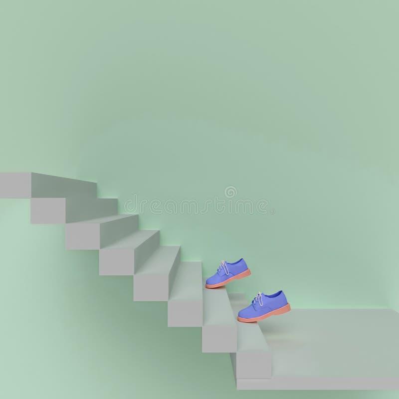 Download La Chaussure Montent Les Escaliers Illustration Stock - Illustration du nuage, réseau: 77161360