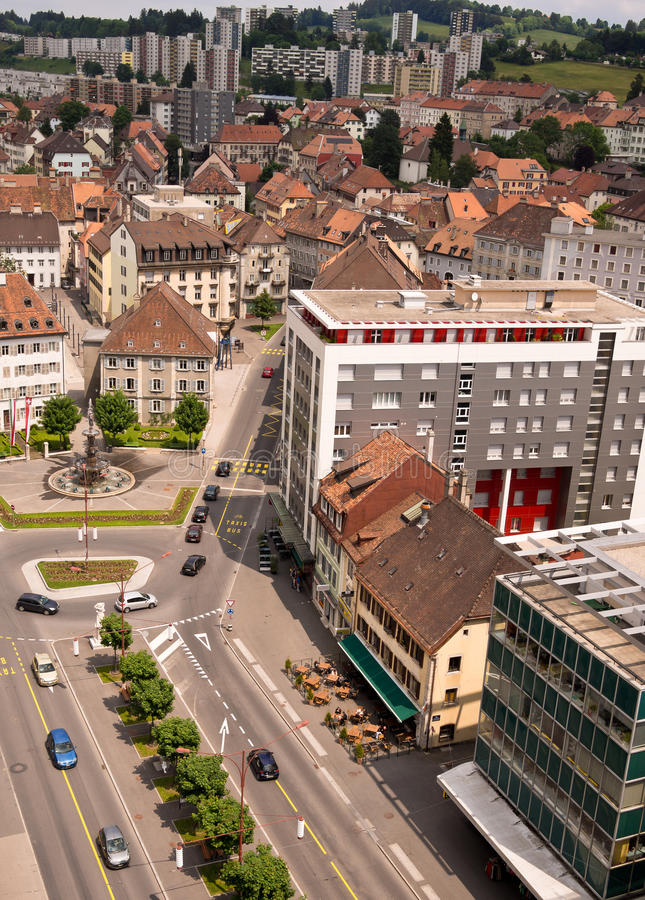 La Chaux de Fond, Switzerland. Aerial view of La Chaux de Fond, the most important centre of the Swiss watch making industry, in Romandie, the French-speaking stock images