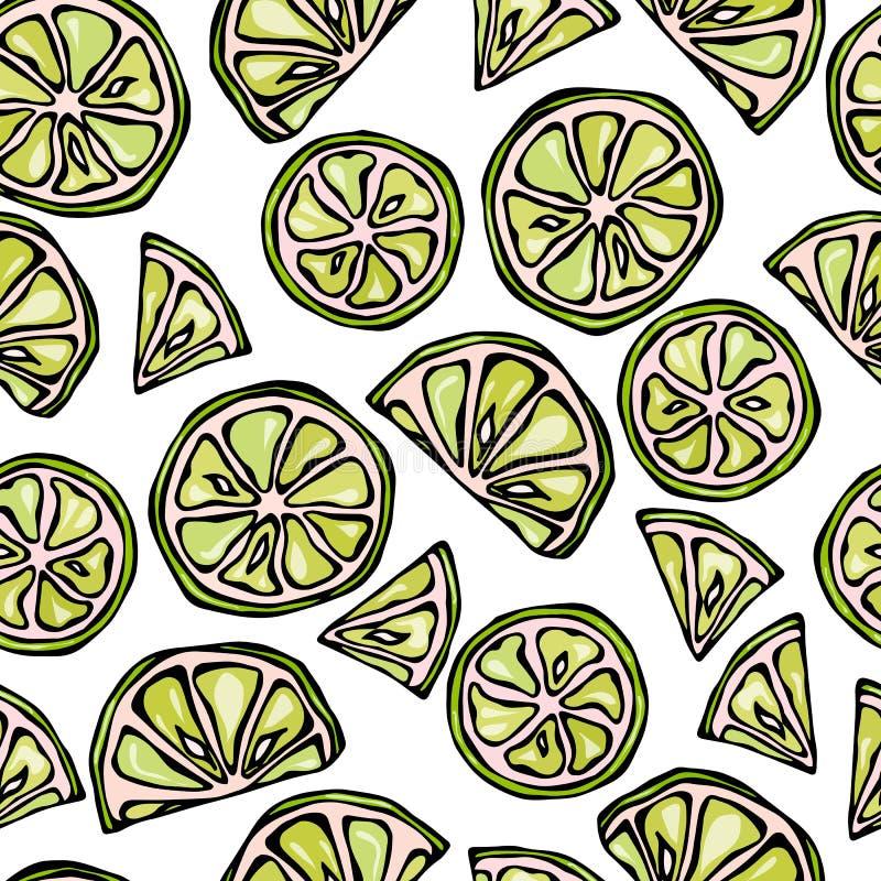 La chaux sans couture découpe le fond en tranches Modèle d'agrume Illustration de vecteur de style de griffonnage illustration libre de droits
