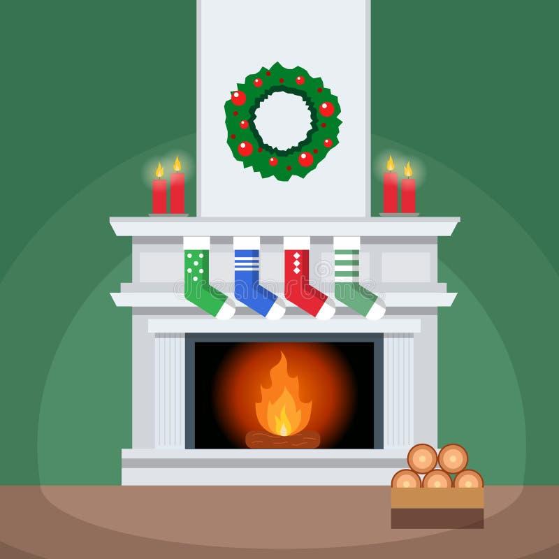 La cheminée élégante de Noël décorée des chaussettes, bougies dirigent l'illustration illustration stock