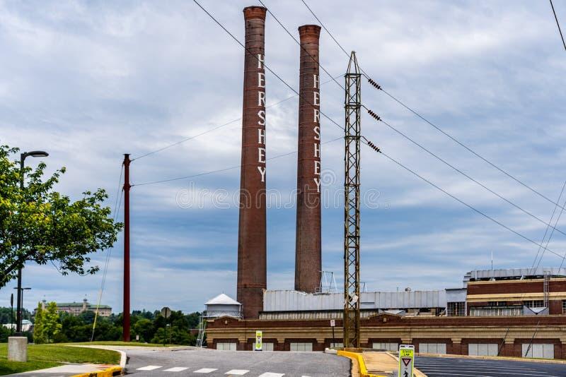 La cheminée d'usine de sucrerie de Hershey photographie stock libre de droits