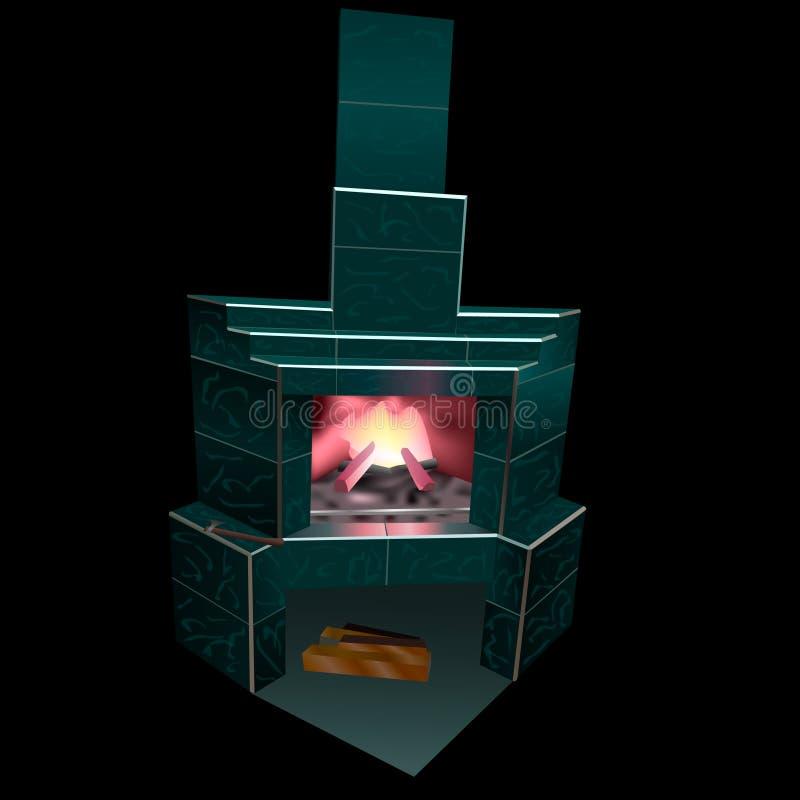 La cheminée est faite de marbre vert avec l'intérieur et le bois du feu illustration libre de droits