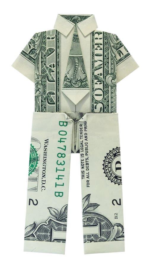 La chemise d'origami d'argent avec le lien et le costume de PANTALON pliés avec deux vrais un billet d'un dollar photo stock