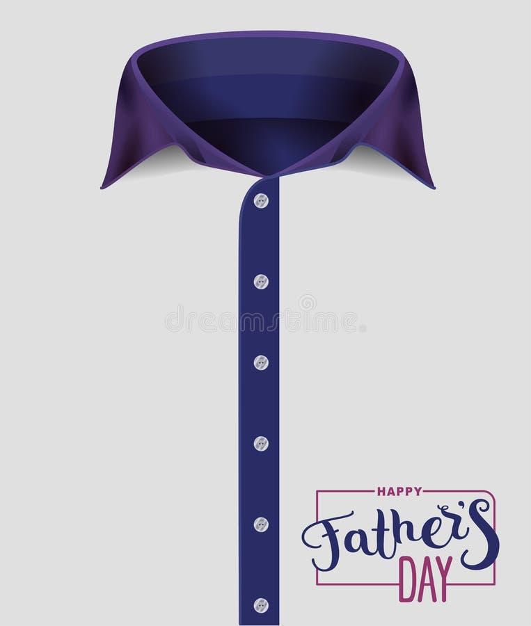 La chemise des hommes avec le collier bleu Jour de pères heureux Texte d'écriture pour la carte de voeux de calibre illustration stock