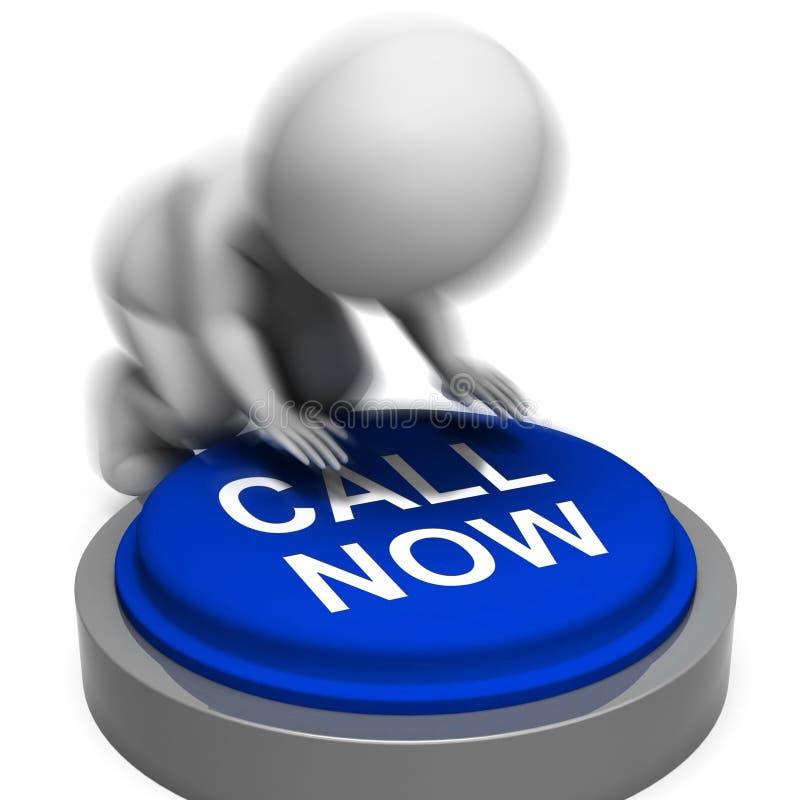 La chiamata ora ha premuto il numero di telefono di sostegno del cliente di manifestazioni illustrazione di stock