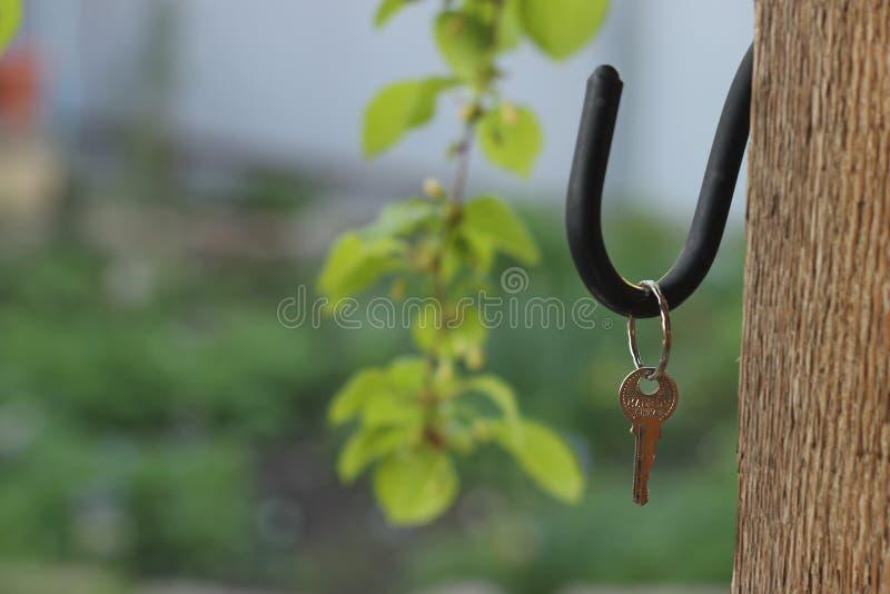 La chiave è vicino alla casa su un fondo di erba verde fotografia stock libera da diritti