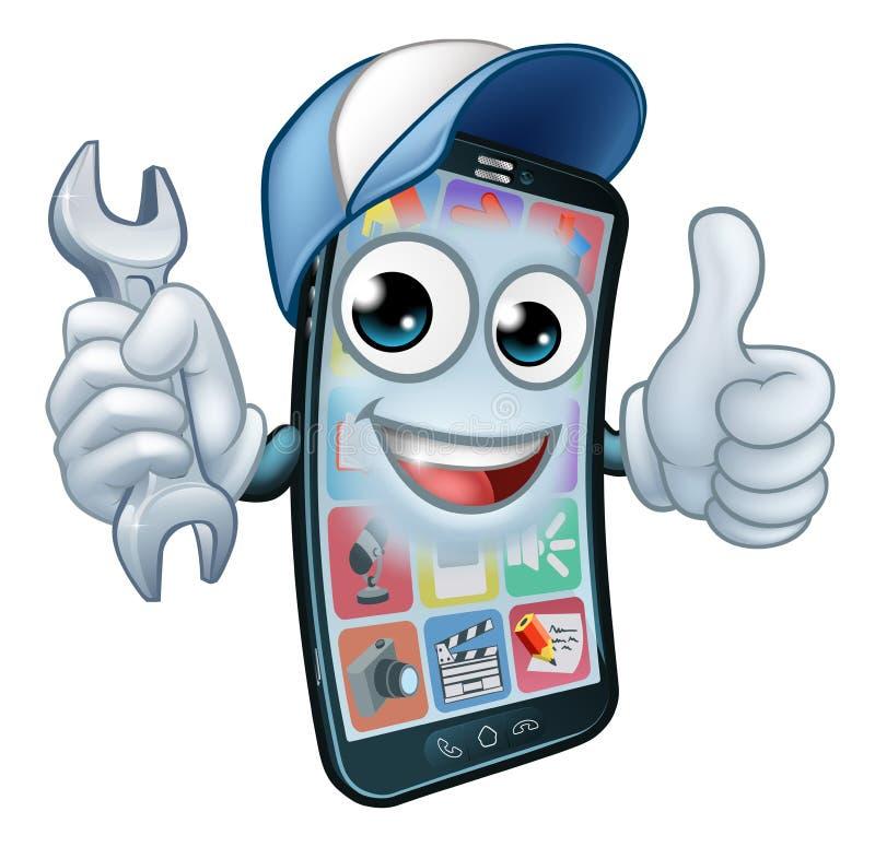 La chiave della riparazione del telefono cellulare sfoglia sul fumetto illustrazione di stock