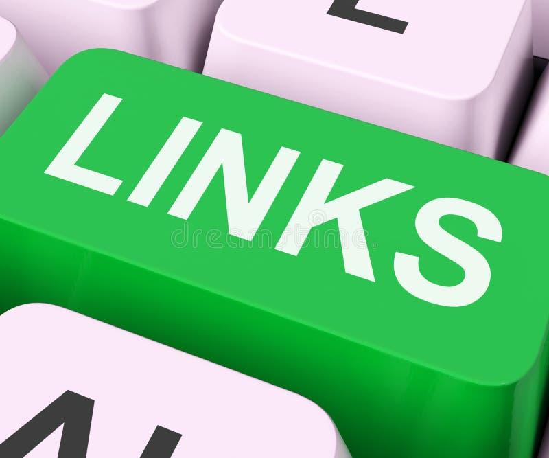La chiave di collegamenti mostra il collegamento e Seo di Backinks immagini stock