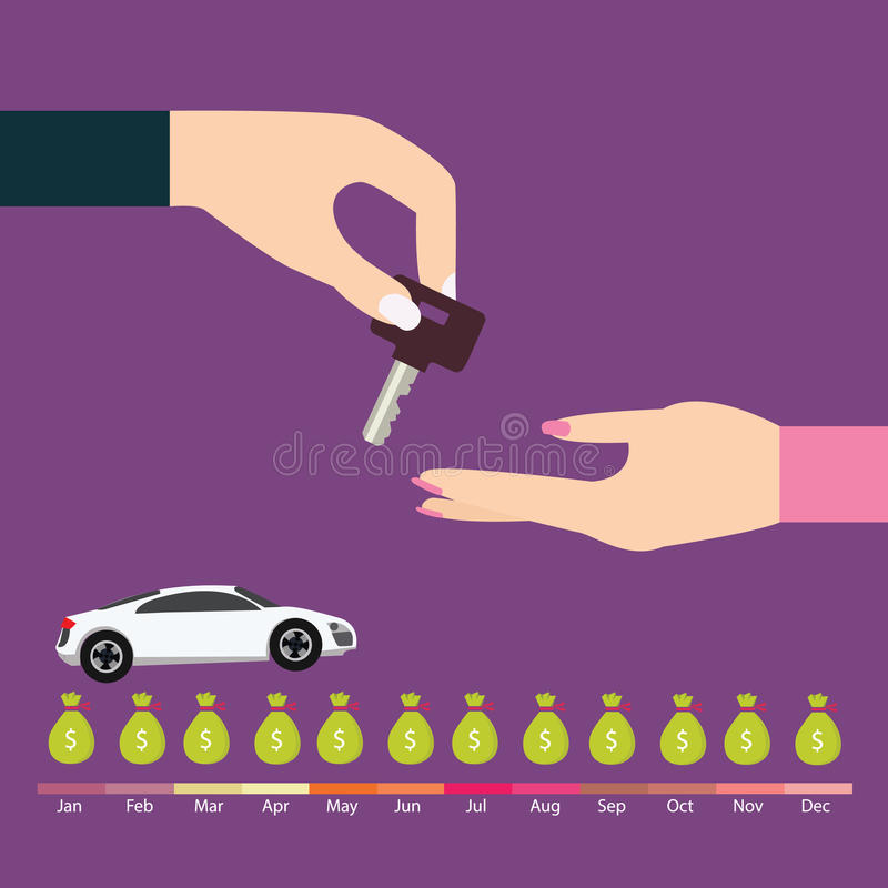 La chiave di termine di pagamento di prestito dell'automobile dell'affare consegna la paga di debito preveduta affare automatico illustrazione di stock
