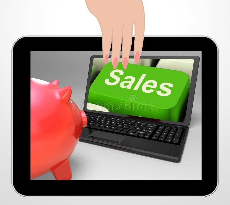 La chiave di vendite visualizza la vendita di web e la previsione finanziaria royalty illustrazione gratis