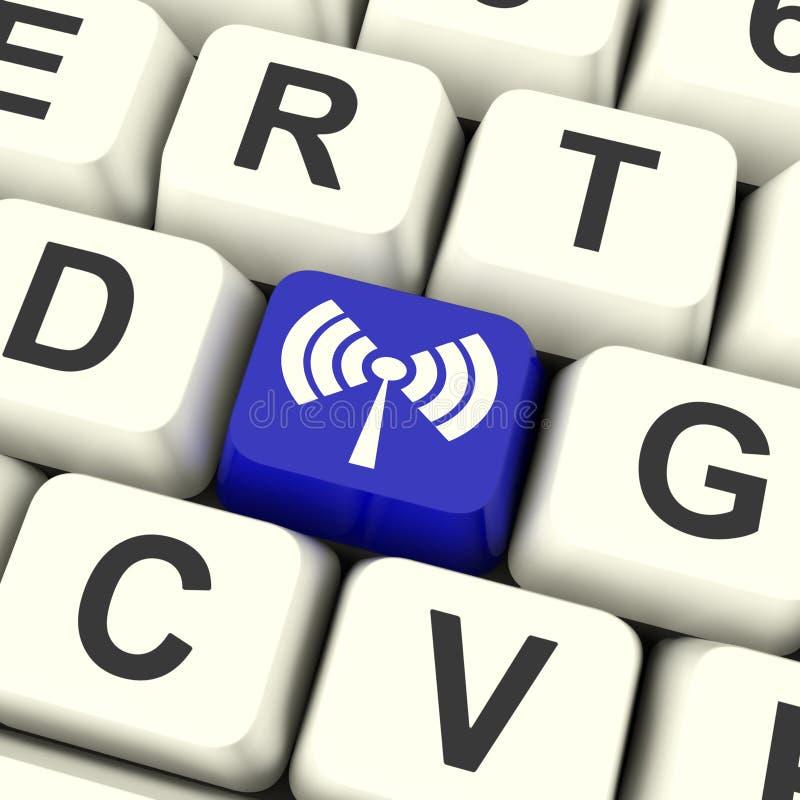 La chiave di Wifi mostra il trasmettitore senza fili di accesso Internet illustrazione di stock