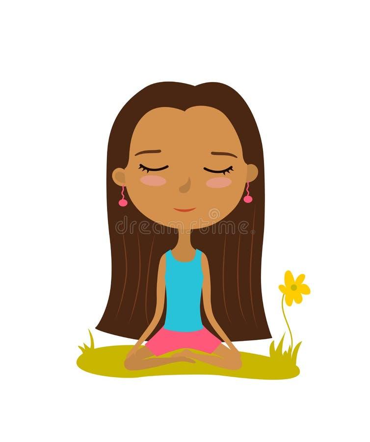 La chica joven bonita practica yoga en la posición de loto Cartel de la meditación y de la relajación Ilustración del vector libre illustration