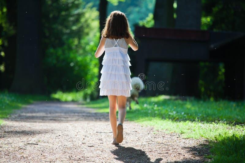 La chica joven camina en una trayectoria de bosque imagenes de archivo