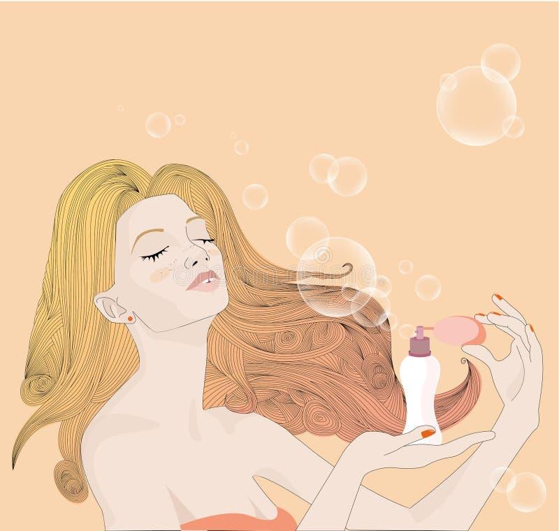 La chica joven con el pelo rubio largo y las pecas, llevando un bañador del rojo lleva a cabo un paquete de la crema del broncead libre illustration