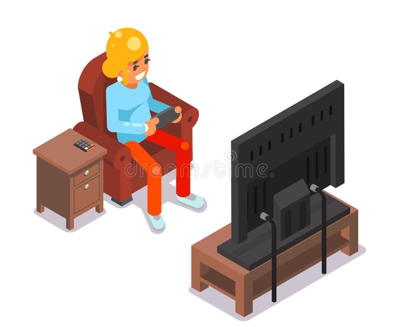 La chica joven del videojugador que ve la TV el jugar del juego sienta el ejemplo plano del vector del diseño del carácter isomét ilustración del vector