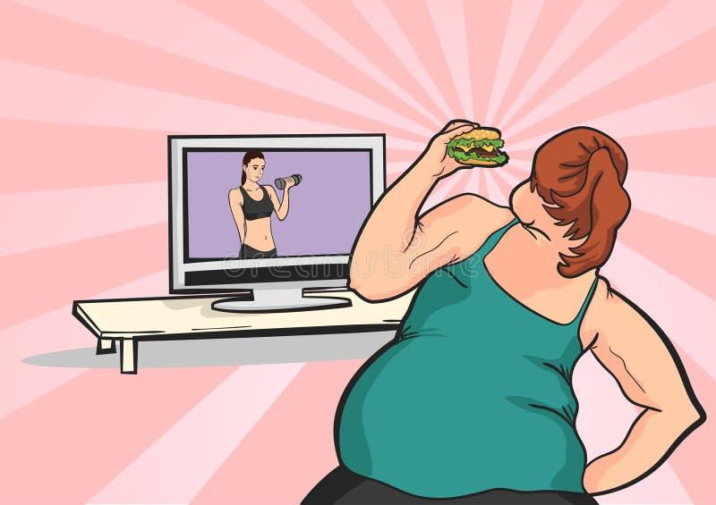La chica joven gorda quiere perder el peso libre illustration