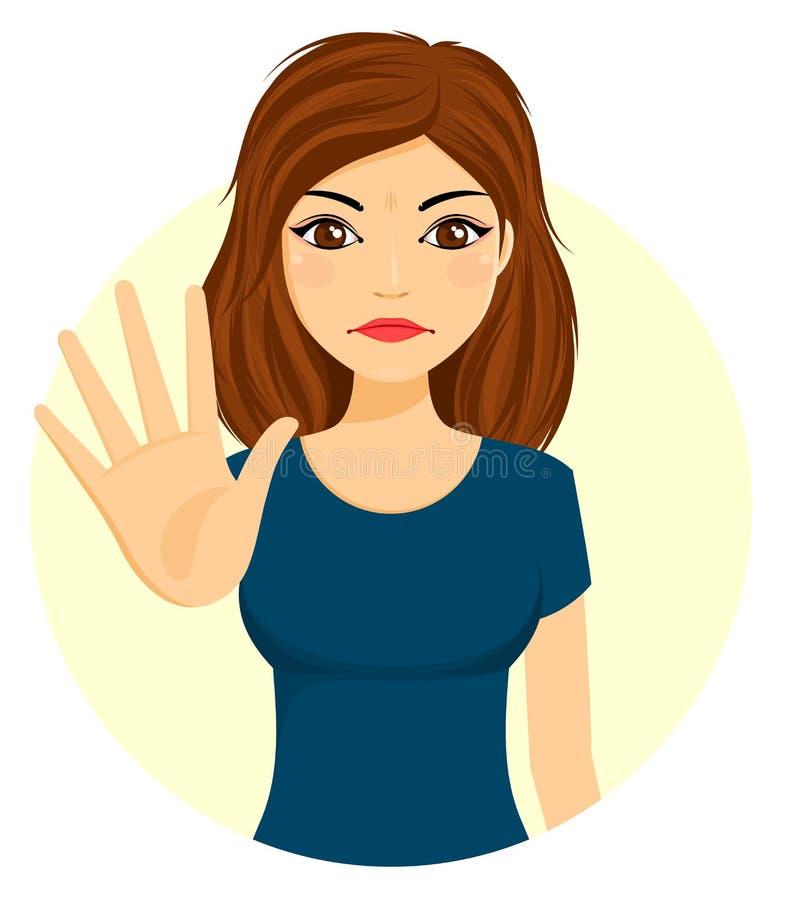 La chica joven puso su palma adelante en carácter de la protesta libre illustration