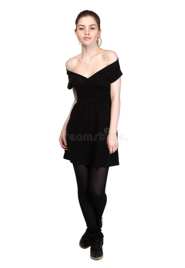 Chica Joven Vestida En Vestido Negro Casual Imagen De