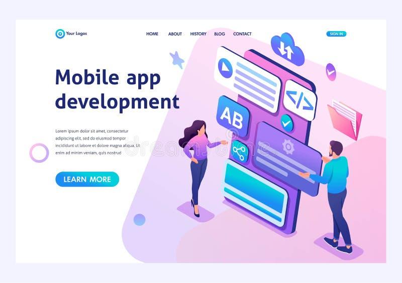 La chica joven y el muchacho isométricos del concepto desarrollan la aplicación móvil para el smartphone Página de aterrizaje de  stock de ilustración